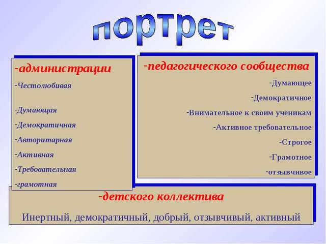 детского коллектива Инертный, демократичный, добрый, отзывчивый, активный адм...