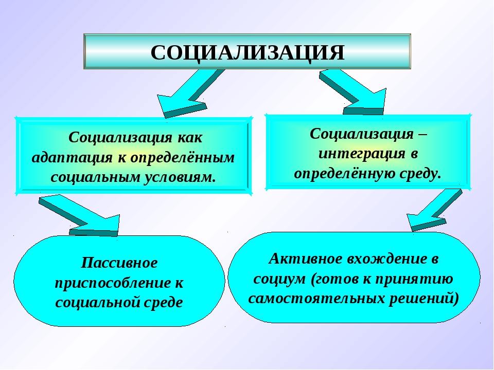 Социализация – интеграция в определённую среду. Социализация как адаптация к...