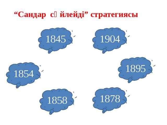 """""""Сандар сөйлейді"""" стратегиясы 1845 1858 1878 1854 1895 1904"""