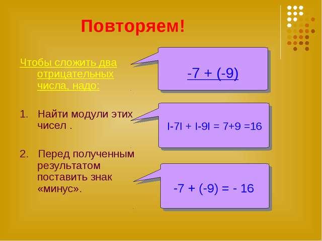 Повторяем! Чтобы сложить два отрицательных числа, надо: 1. Найти модули этих...