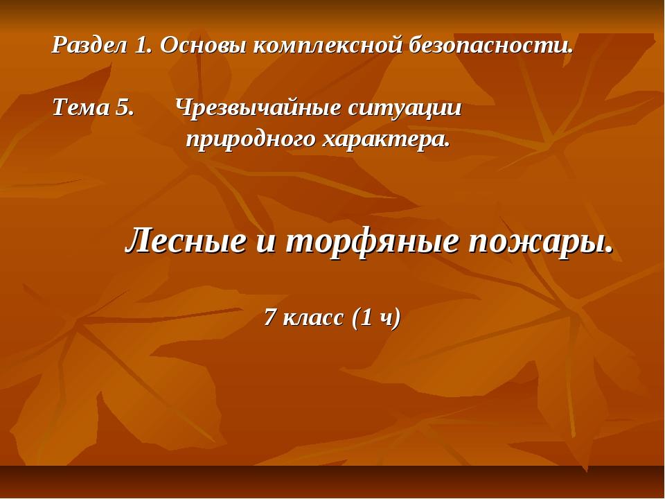 Раздел 1. Основы комплексной безопасности. Тема 5. Чрезвычайные ситуации прир...