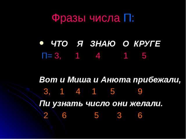 Фразы числа П: ЧТО Я ЗНАЮ О КРУГЕ П= 3, 1 4 1 5 Вот и Миша и Анюта прибежали,...