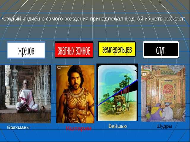 Брахманы Кштарии Вайшью Шудры Каждый индиец с самого рождения принадлежал к...