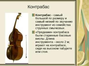 Контрабас Контрабас - самый большой по размеру и самый низкий по звучанию инс