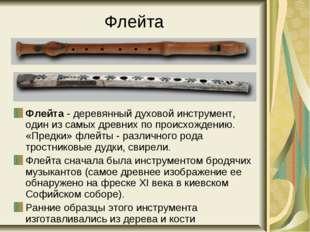 Флейта Флейта - деревянный духовой инструмент, один из самых древних по проис