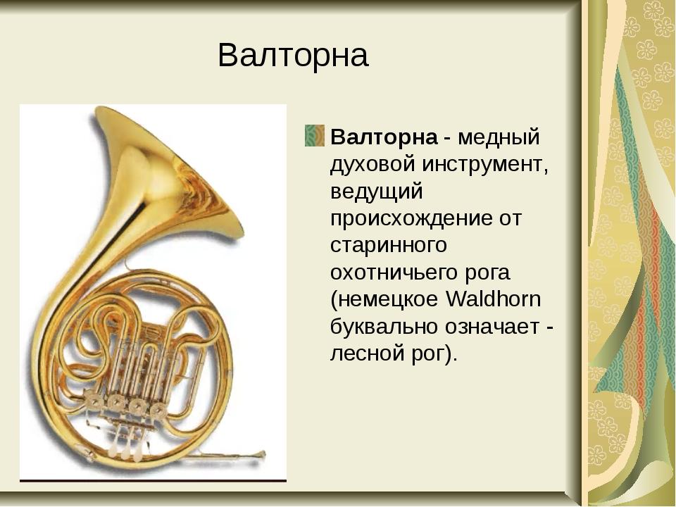 Валторна Валторна - медный духовой инструмент, ведущий происхождение от стари...