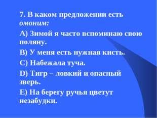 7. В каком предложении есть омоним: А) Зимой я часто вспоминаю свою поляну. В