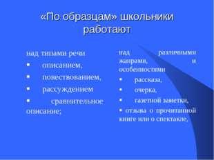 «По образцам» школьники работают над типами речи §описанием, § пов
