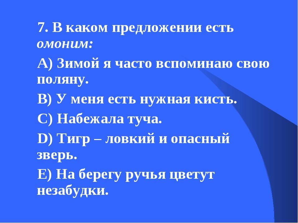 7. В каком предложении есть омоним: А) Зимой я часто вспоминаю свою поляну. В...