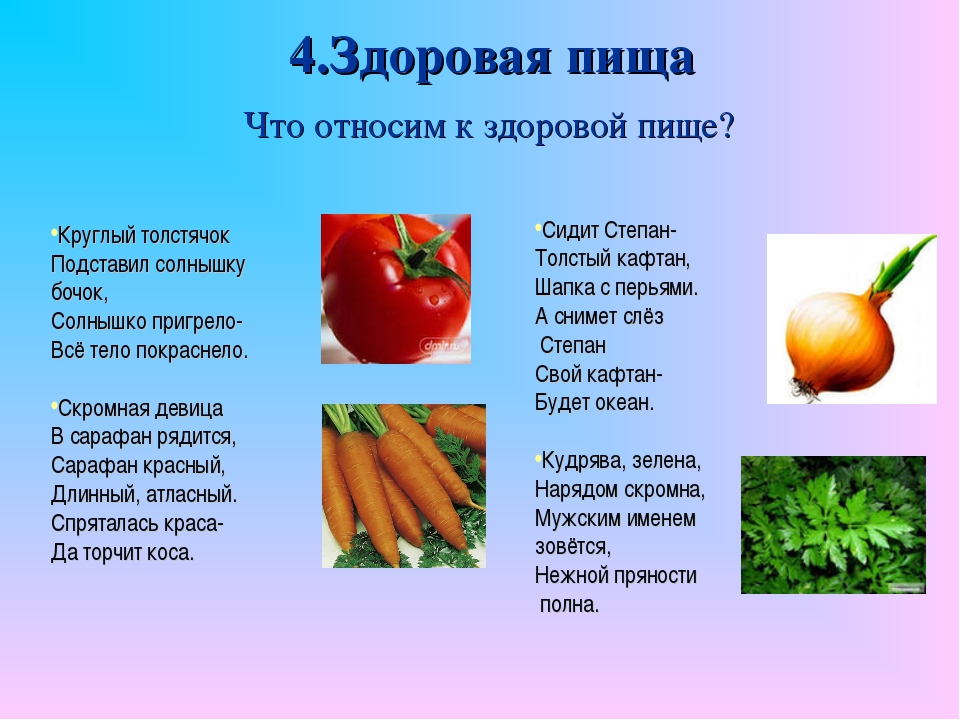 4.Здоровая пища Что относим к здоровой пище? Круглый толстячок Подставил солн...
