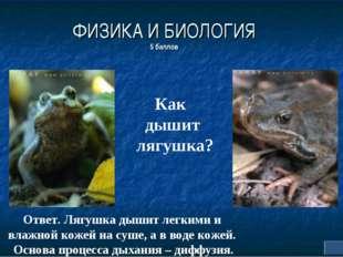 ФИЗИКА И БИОЛОГИЯ 5 баллов Как дышит лягушка? Ответ. Лягушка дышит легкими и