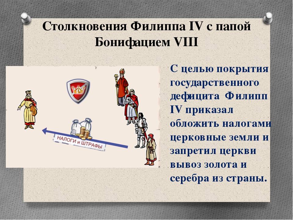 Столкновения Филиппа IV с папой Бонифацием VIII С целью покрытия государствен...