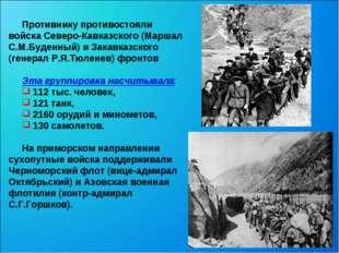 Противнику противостояли войска Северо-Кавказского (Маршал С.М.Буденный) и З