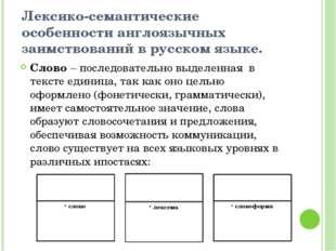 Лексико-семантические особенности англоязычных заимствований в русском языке.