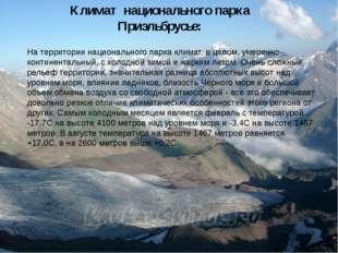 На территории национального парка климат, в целом, умеренно-континентальный,