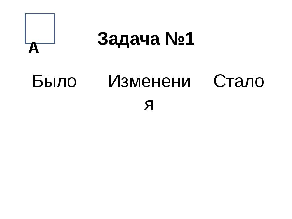 Задача №1 ААА А БылоИзмененияСтало