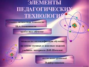 ЭЛЕМЕНТЫ ПЕДАГОГИЧЕСКИХ ТЕХНОЛОГИЙ гуманно-личностная технология Ш.А.Амонашви