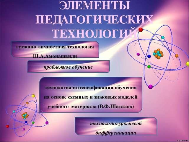 ЭЛЕМЕНТЫ ПЕДАГОГИЧЕСКИХ ТЕХНОЛОГИЙ гуманно-личностная технология Ш.А.Амонашви...