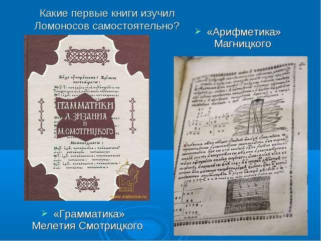 Какие первые книги изучил Ломоносов самостоятельно? «Грамматика» Мелетия Смот...