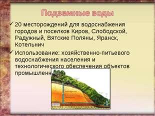 20 месторождений для водоснабжения городов и поселков Киров, Слободской, Раду