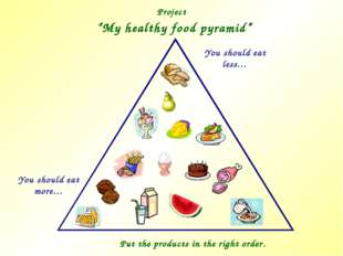 "Project ""My healthy food pyramid"" You should eat more… You should eat less… P"
