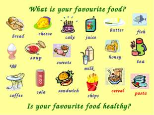 What is your favourite food? bread sweets cheese cake juice butter fish pasta