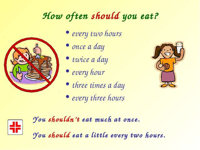 How often should you eat? every two hours once a day twice a day every hour t...