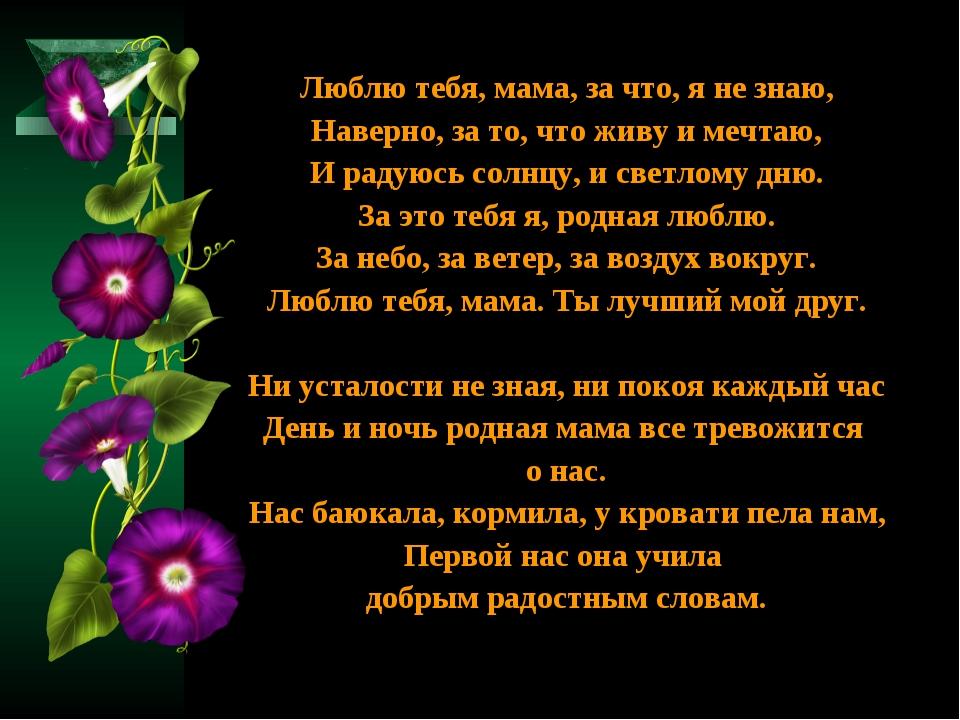 Люблю тебя, мама, за что, я не знаю, Наверно, за то, что живу и мечтаю, И рад...
