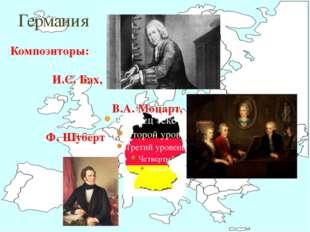 Германия Композиторы: И.С. Бах, В.А. Моцарт, Ф. Шуберт