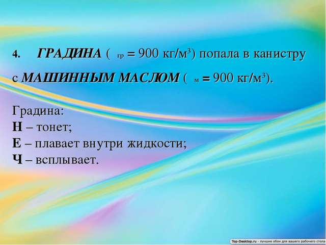4.ГРАДИНА (ρгр = 900 кг/м3) попала в канистру с МАШИННЫМ МАСЛОМ (ρм=9...