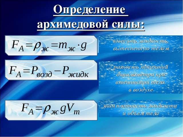 Определение архимедовой силы: взвесить жидкость, вытесненную телом разность п...