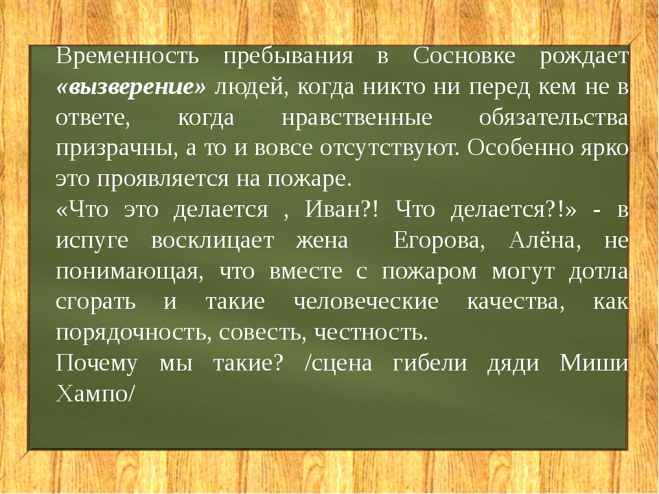 Временность пребывания в Сосновке рождает «вызверение» людей, когда никто ни...