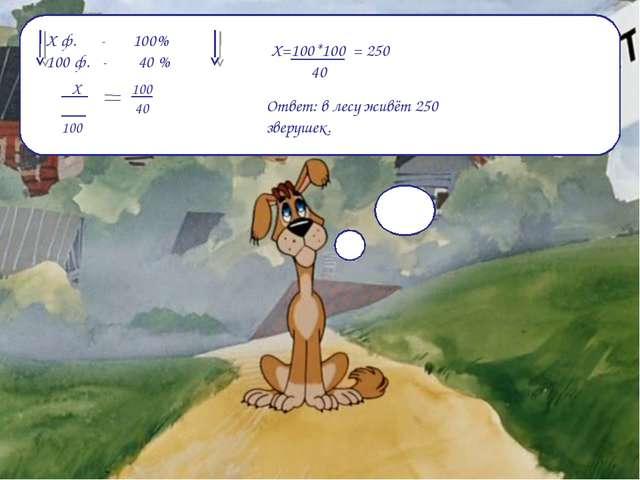 Х ф. - 100% 100 ф. - 40 % Х 100 100 40 Х=100*100 = 250 40 Ответ: в лесу живёт...