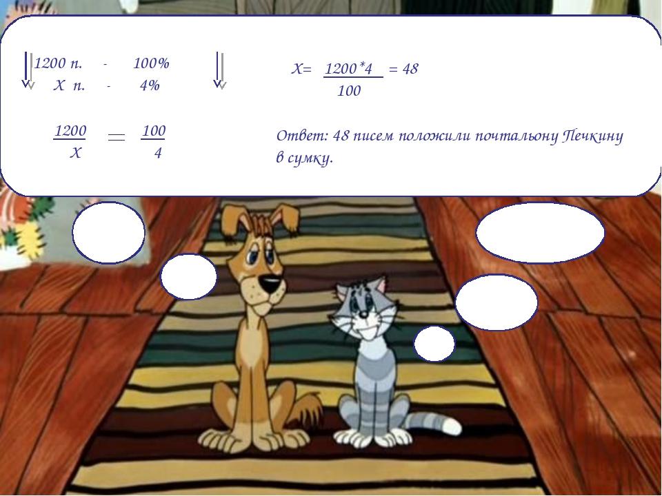 1200 п. - 100% Х п. - 4% 1200 Х 100 4 Х= 1200*4 = 48 100 Ответ: 48 писем поло...