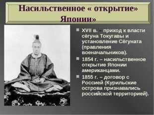 XVII в. – приход к власти сёгуна Токугавы и установление Сёгуната (правления