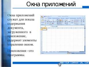 Окна приложений Окна приложений служат для показа содержания документа, загру
