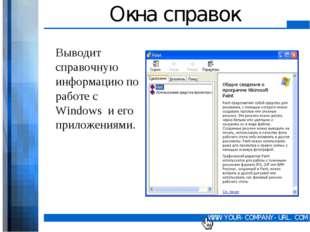 Окна справок Выводит справочную информацию по работе с Windows и его приложен