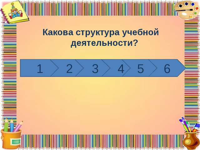 Какова структура учебной деятельности? 1 2 3 4 5 6