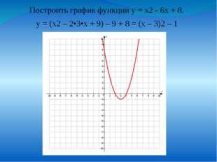 у = (х2 – 2•3•x + 9) – 9 + 8 = (x – 3)2 – 1 Построить график функции у = х2 -
