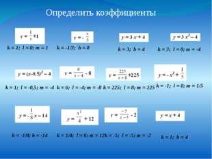 Определить коэффициенты k = 1; l = 0; m = 1 k = -1/3; b = 0 k = 3; b = 4 k =