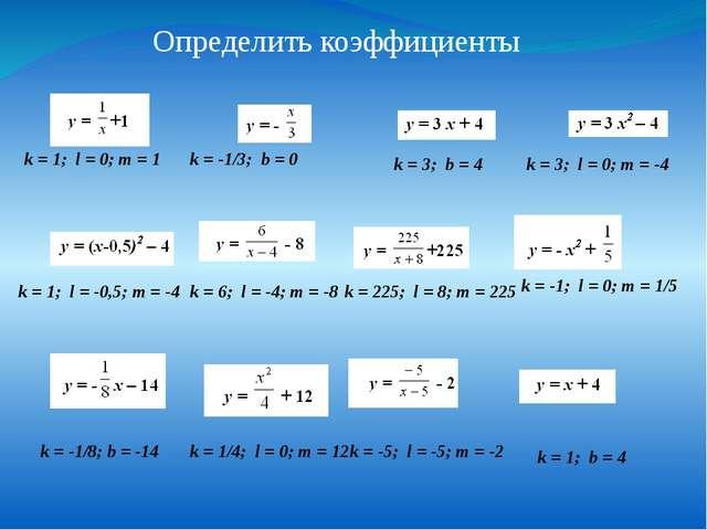 Определить коэффициенты k = 1; l = 0; m = 1 k = -1/3; b = 0 k = 3; b = 4 k =...