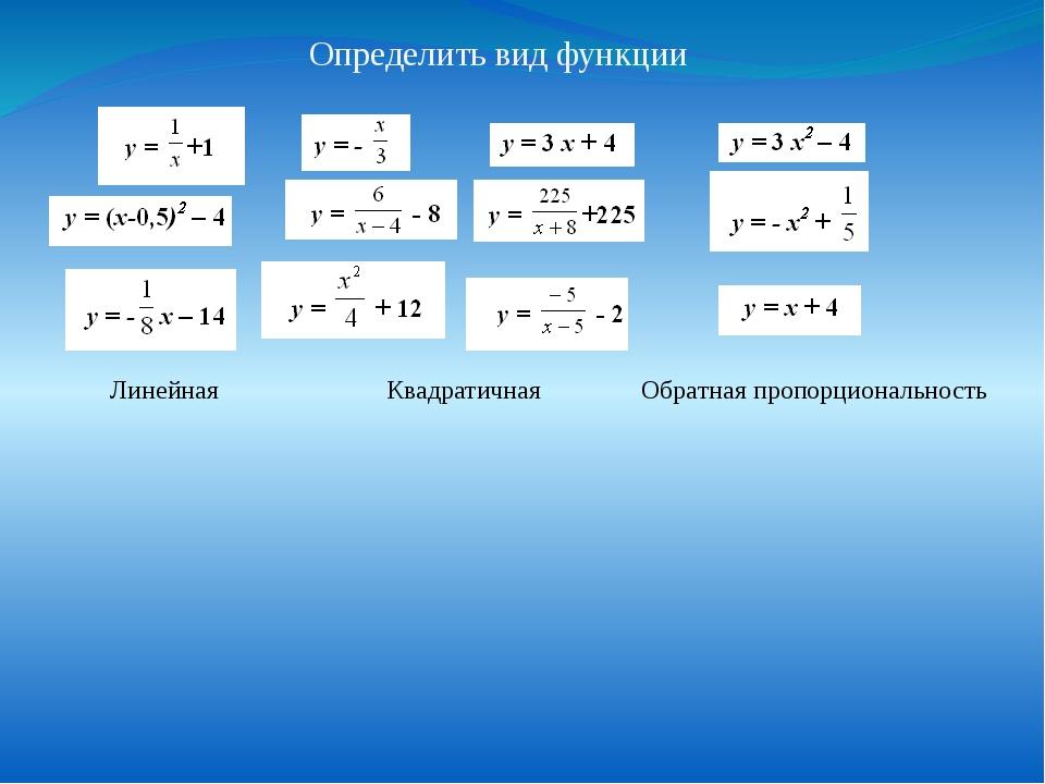 Определить вид функции Линейная Квадратичная Обратная пропорциональность