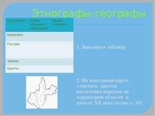 Этнографы-географы 1. Заполните таблицу 2. На контурной карте отметить цветом