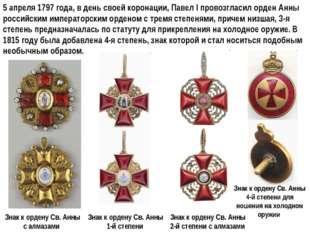 5 апреля 1797 года, в день своей коронации, Павел I провозгласил орден Анны р
