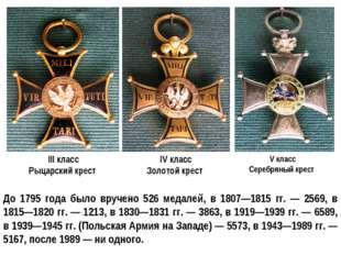 III класс Рыцарский крест IV класс Золотой крест V класс Серебряный крест До