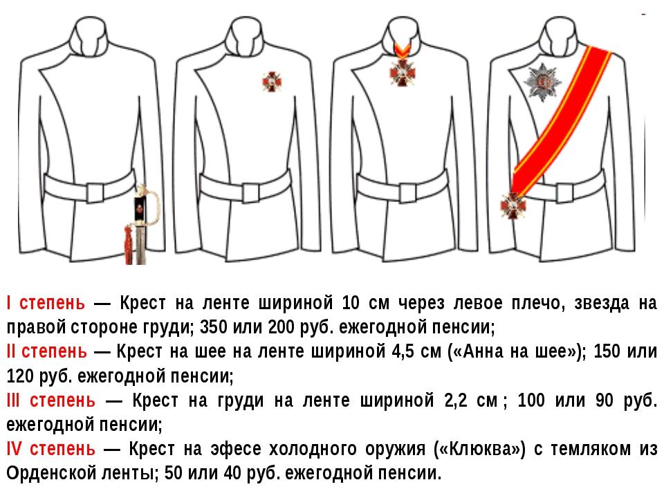 I степень — Крест на ленте шириной 10 см через левое плечо, звезда на правой...