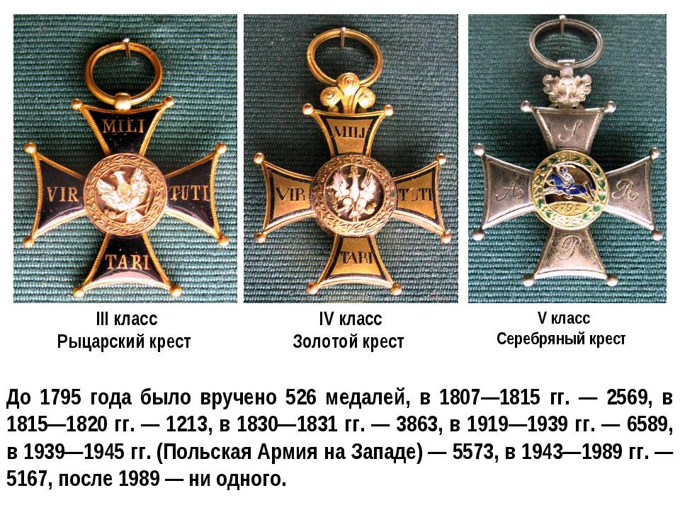 III класс Рыцарский крест IV класс Золотой крест V класс Серебряный крест До...