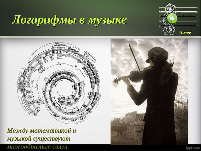 Логарифмы в музыке Между математикой и музыкой существуют многообразные связи.