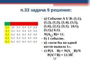 п.33 задача 9 решение: а) Событие А U В: (1;1), (1;2), (1;3), (1;4), (1;5), (