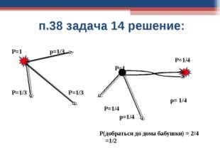 п.38 задача 14 решение: Р=1 р=1/3 Р=1/3 Р=1/3 Р=1/4 Р=1 р= 1/4 Р=1/4 р=1/4 Р